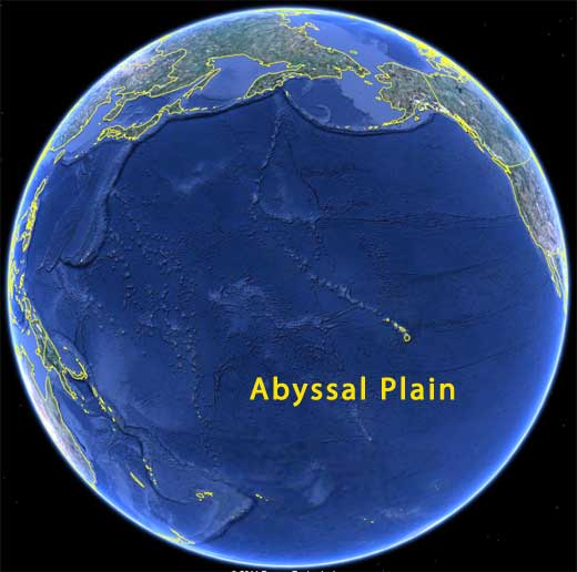 Satellite image of earth -abyssal plain map