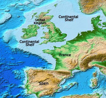 continental shelf off the coast of Western Europe
