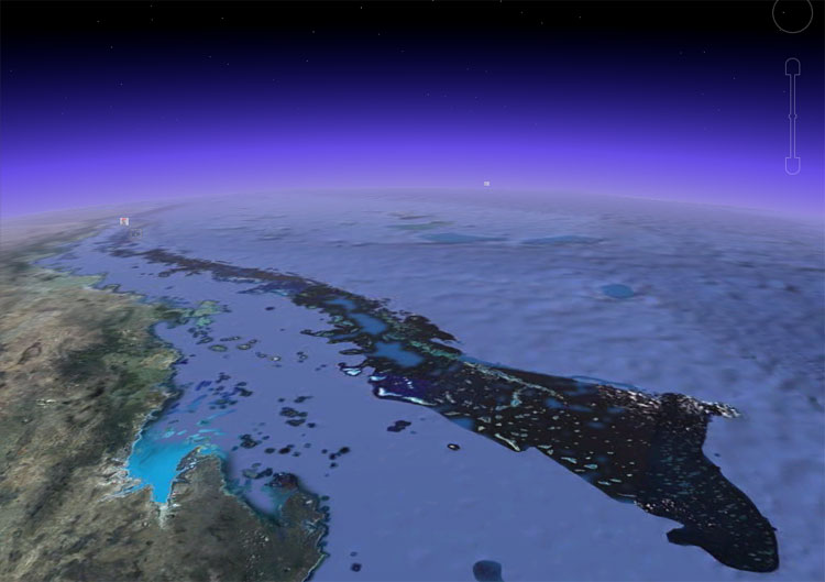 Satellite view of Great Barrier Reef in Australia
