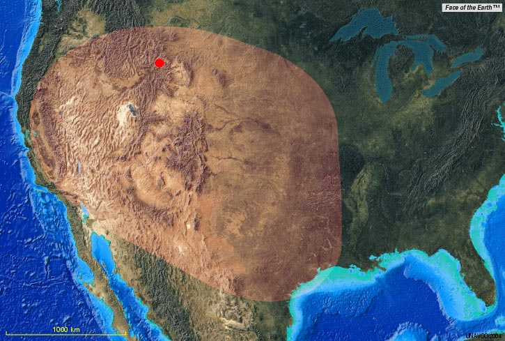 Biggest Volcanic Eruption Yellowstone Caldera - Calderas in the us map