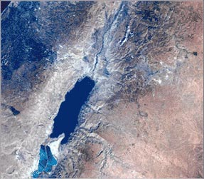 Satellite image of Dead Sea